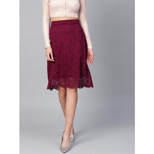 Athena Women Burgundy Lace A-Line Skirt
