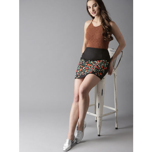 HERE&NOW Black & Red Embroidered A-line Skirt