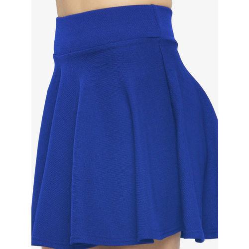 N-Gal Women Blue Solid Flared Mini Skirt