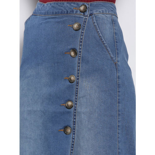 DOROTHY PERKINS Women Blue Washed Denim Wrap Skirt