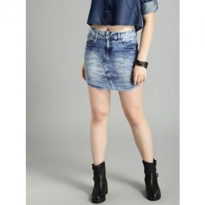 Roadster Blue Washed Straight Denim Skirt