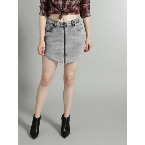 Roadster Women Grey Washed Denim A-line Skirt