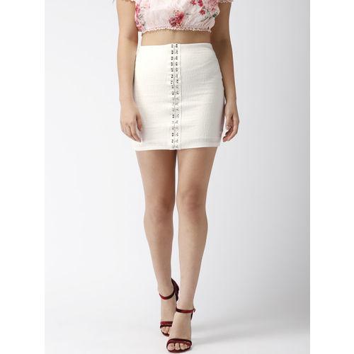 FOREVER 21 Women White Solid Mini Pencil Skirt