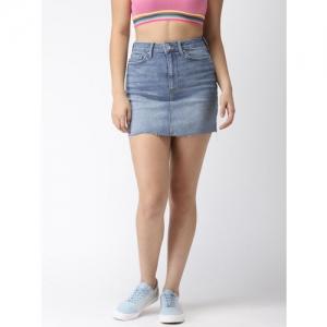 FOREVER 21 Blue Solid Denim Mini Pencil Skirt