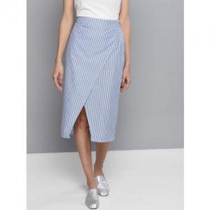 Besiva Women Blue & White Striped Wrap Skirt