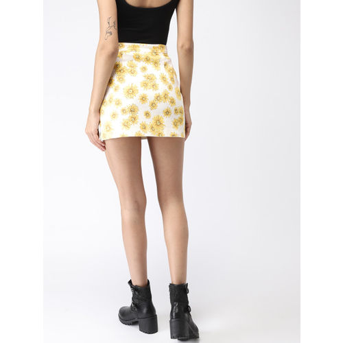 FOREVER 21 Women White & Yellow Printed Mini Pencil Skirt