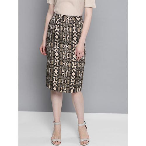 Besiva Women Black & Beige Animal Print Pencil Skirt