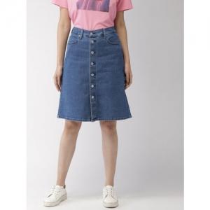 Levis Women Blue Solid A-Line Denim Skirt