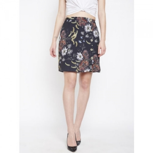 Oxolloxo Black Floral Printed Straight Skirt