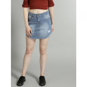 Roadster Women Blue Washed Stretch Denim A-line Skirt