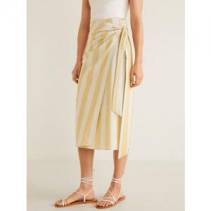 MANGO Women Off-White & Beige Striped Midi Wrap Skirt