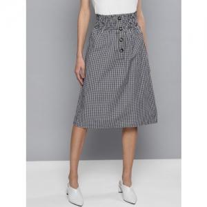 Besiva Women Black & White Checked A-Line Skirt
