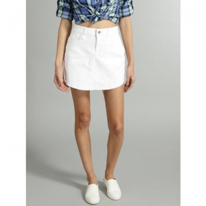Roadster White Solid Denim A-line Skirt