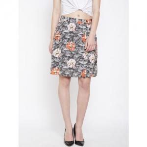 Oxolloxo Floral Printed Grey Midi Skirt