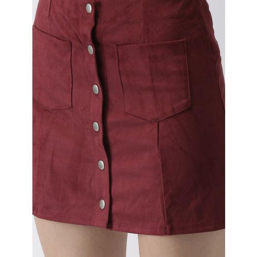 FOREVER 21 Women Burgundy Solid Suede Mini Skirt
