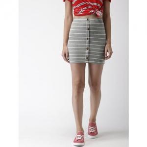 FOREVER 21 Women Grey & White Striped Pencil Skirt