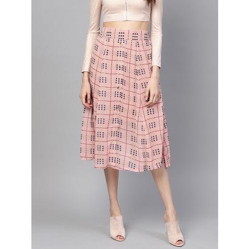 SASSAFRAS Women Pink & Black Checked Midi A-Line Skirt