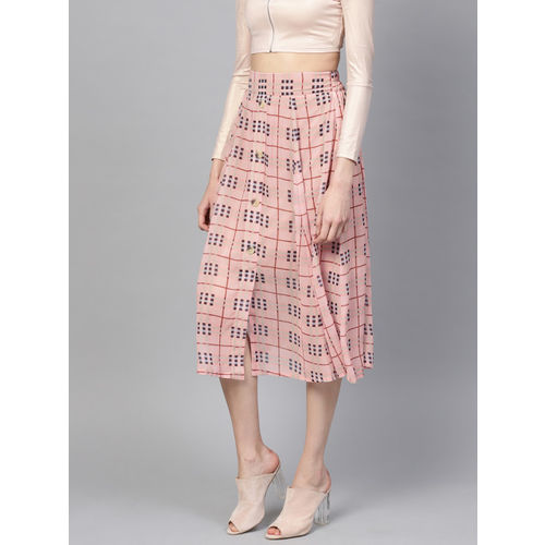 SASSAFRAS Women Pink & Black Checked Midi A-Line Skirt