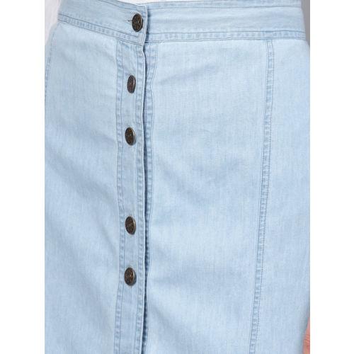 SASSAFRAS Women Blue Solid Denim A-Line Skirt