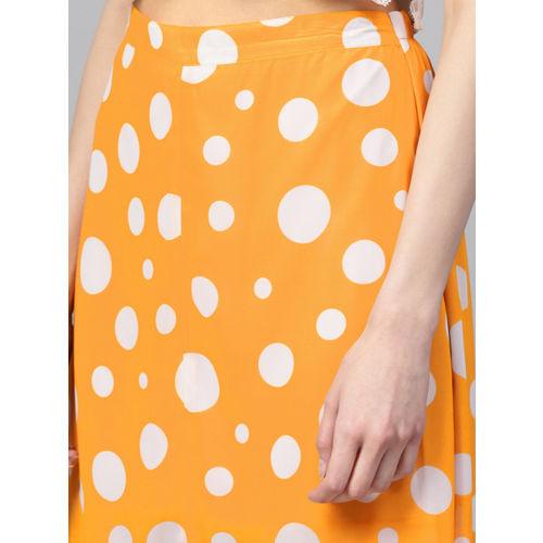 SASSAFRAS Women Yellow & White Polka Dot Print A-Line Skirt