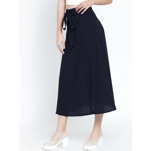 Martini Women Navy Blue Solid A-Line Skirt
