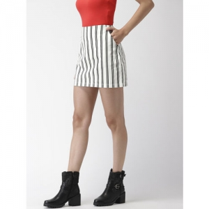 FOREVER 21 Women White & Black Striped Straight Skirt