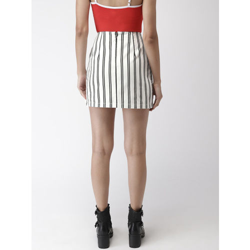 FOREVER 21 Women White & Black Striped Straight Skirt