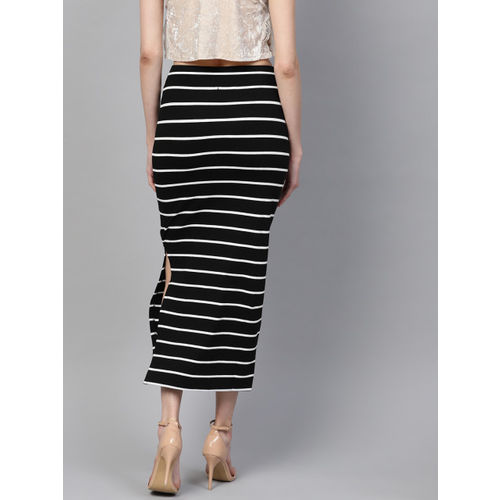 SASSAFRAS Women Black & White Striped Pencil Skirt