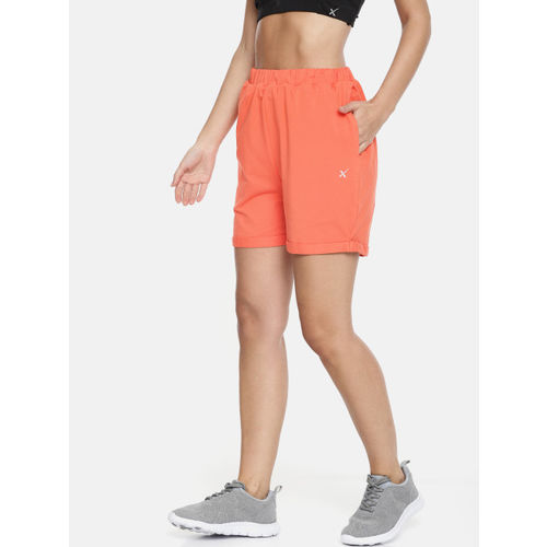 HRX by Hrithik Roshan Women Coral Orange Regular Fit Solid Yoga Shorts