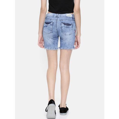 ZHEIA Women Blue Washed Skinny Fit Denim Shorts