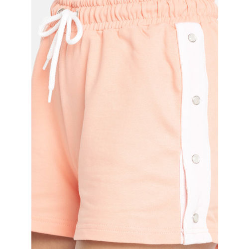 Mast & Harbour Women Peach-Coloured Solid Regular Fit Regular Shorts