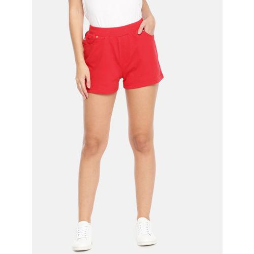 Mast & Harbour Women Red Solid Regular Fit Regular Shorts