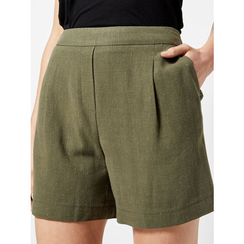 DOROTHY PERKINS Women Olive Green Solid Regular Fit Regular Shorts