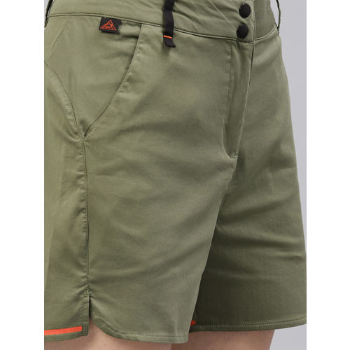 HRX by Hrithik Roshan Women Olive Green Solid Outdoor Regular Fit Shorts