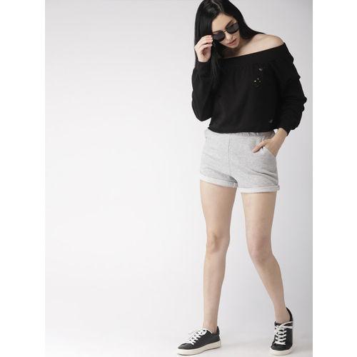 FOREVER 21 Women Grey Solid Regular Fit Hot Pants