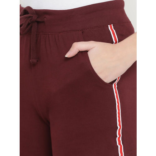 The Dry State Women Maroon Striped Slim Fit Hot Pants
