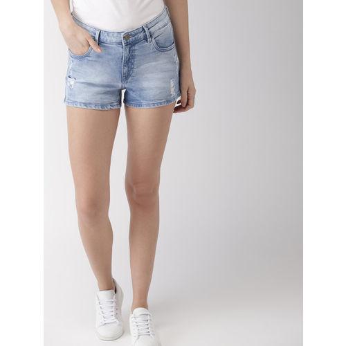 Mast & Harbour Women Blue Washed Regular Fit Distressed Denim Shorts