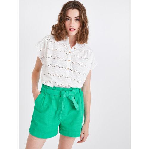 promod Women Green Solid Slim Fit Regular Shorts
