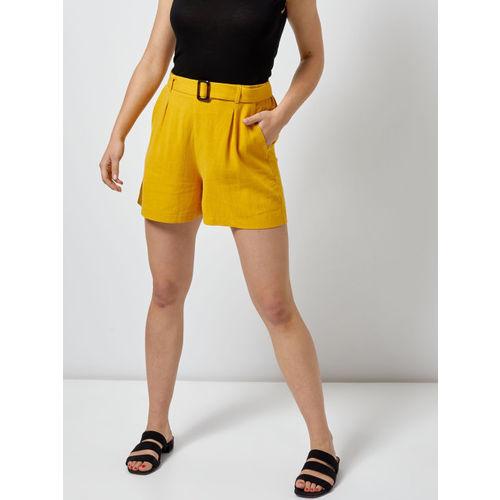 DOROTHY PERKINS Women Mustard Yellow Solid Regular Shorts