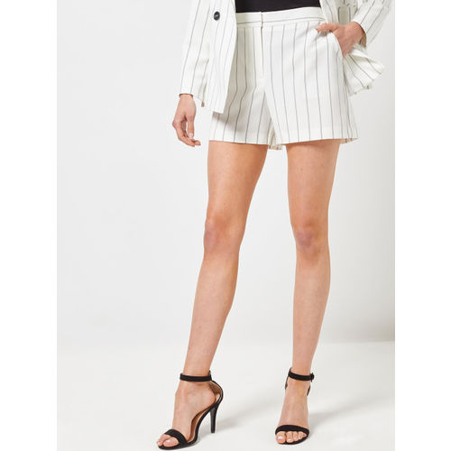 DOROTHY PERKINS Women White & Black Striped Regular Fit Regular Shorts