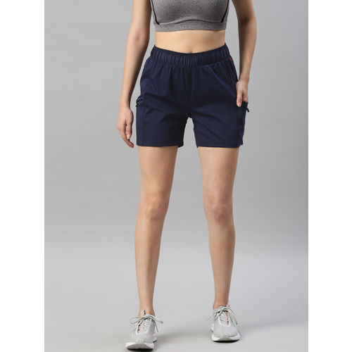 HRX by Hrithik Roshan Women Navy Blue Solid Outdoor Regular Fit Shorts