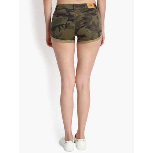 Kotty Women Khaki Camouflage Printed Regular Fit Hot Pants