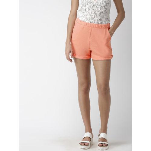FOREVER 21 Women Peach-Coloured Solid Regular Fit Regular Shorts