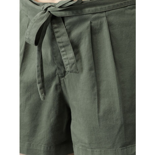 HERE&NOW Women Olive Green Solid Regular Fit Regular Shorts