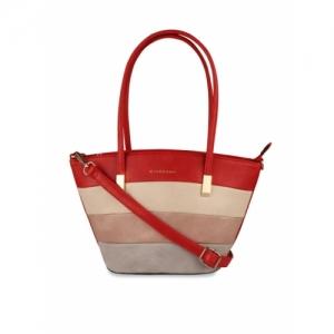 GIORDANO Red & Beige Colourblocked Shoulder Bag