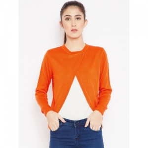 Cayman Women Orange Solid Woollen Cardigan