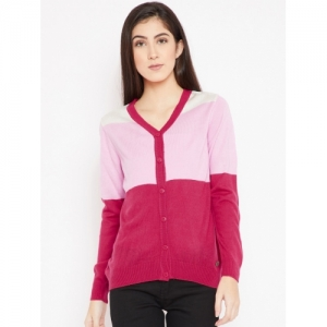 Cayman Women Pink Colourblocked Woollen Cardigan