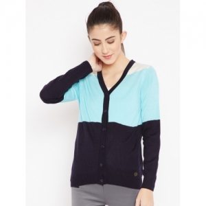 Cayman Blue Colourblocked Women Cardigan