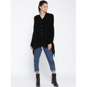 Renka Black Self Design Women Cardigan