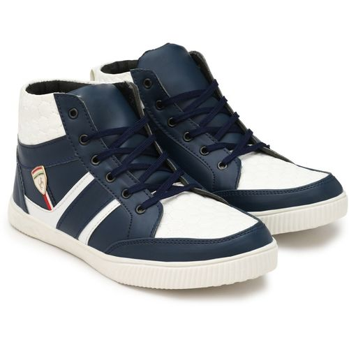 Shoe Island Icon-X Leatherette Trending Navy Blue 'n' White High Ankle Length Casual Sneakers For Men Sneakers For Men(Navy, White, Blue)